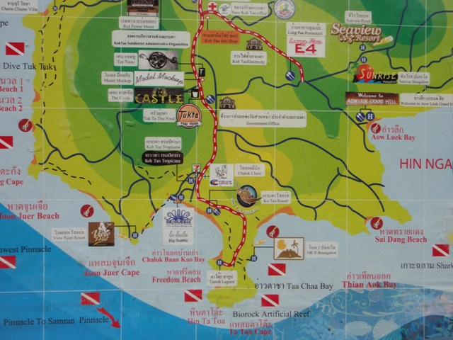 Shark Bay Koh Tao Map Map of South Koh Tao