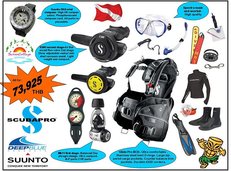 Gold Dive Equipment Package DMT IDC Sairee Cottage Diving Koh Tao Thailand
