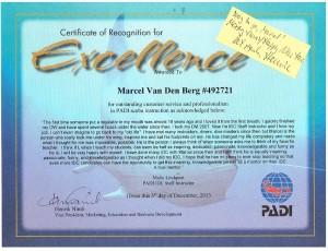 PADI CD Marcel Van Den Berg Certificate Of Excellence